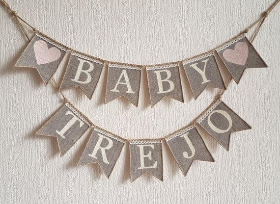 burlap baby banner baby banner baby shower banner baby name banner