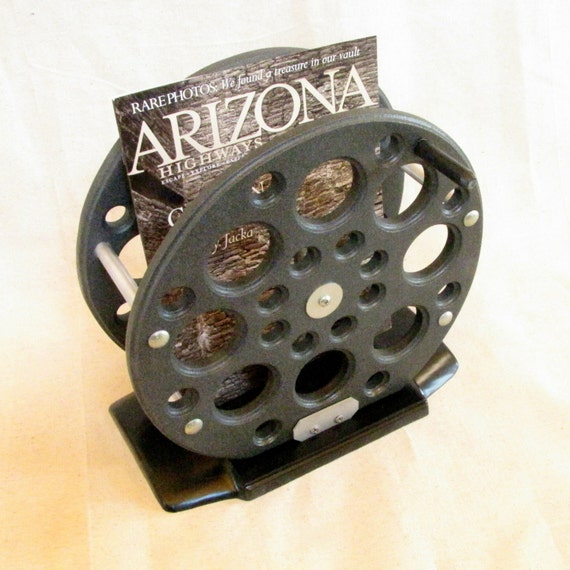 Fishing reel magazine rack fly fishing decor for cabin den for Fly fishing decor