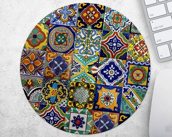Mouse Pad Mousepad Moroccan Print Mouse Mat Azulejo MousePad Office Gift for Teacher Mousemat Round MousePad Tile Mouse Pad Desk Accessories