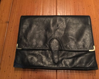 Vintage Leather envelope style clutch or briefcase
