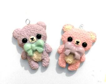 Handmade Kawaii Cute Pastel Polymer Clay Teddy Bear Charm Necklace. Fairy Kei Jewellery, Lolita Jewellery, Kawaii Jewellery