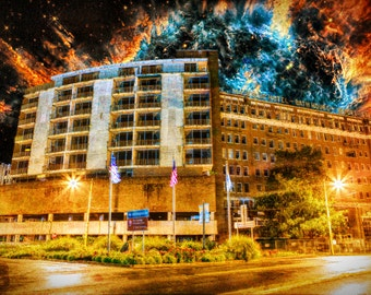 She Yet Stands, Beyond the Edge of Space - Limited Edition Canvas Print - Hot Springs, Arkansas Majestic Hotel and NGC 5189