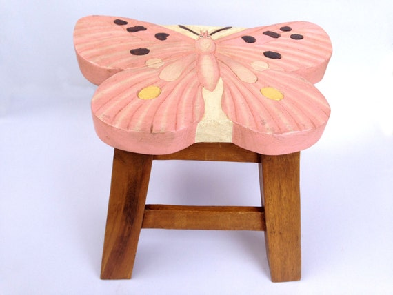 Butterfly Stool Kids Stool Sitting Stool Hand Painted Wooden