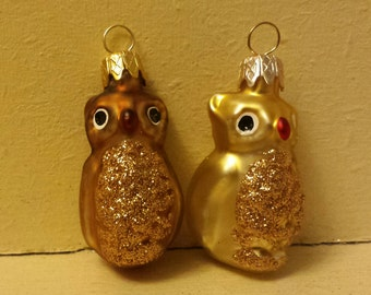 2 mini Blown Glass Owls Christmas Tree Ornament Decorations or Baubles