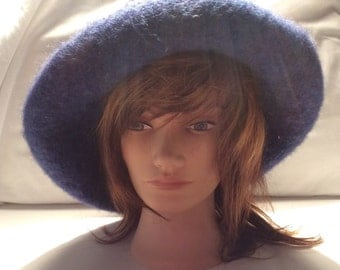Vintage Blue Wool Floppy Hat Winter Hat Fall Hat Circa Early 1990's