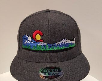 Colorado Flag Mountains Skyline Nature Embroidered  Snap Back One Size Fits All
