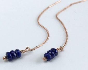 Rose Gold Threader Earrings, Rose Gold Ear Chains, Lapis Lazuli Earrings, Rose Gold Ear Threads, Lapis Earrings, Gift for Her