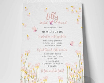 Personalised New Baby Gift / For Baby Girl / Wild Flowers and Butterflies / Inspirational Poem / My wish for you / Nursery Art / Canvas Art