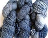 "Hand Dyed ""Sky Marble"" Denim Blue Grey/Gray Yarn Cormo Wool 10 Ply Aran Weight  100g x 3"
