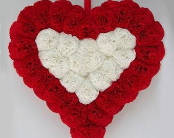 Valentine wreath, Valentines day wreath, Red heart wreath, Valentine gift heart, Valentine door decor, Door wall decoration, Red love wreath