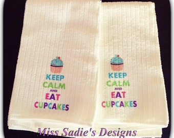 Set of 2 Keep Calm and Eat Cupcakes kitchen towels