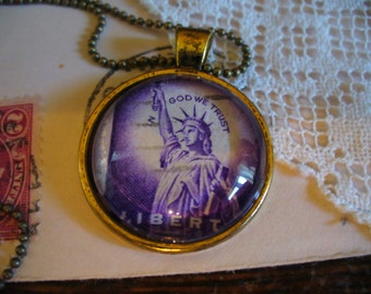 Stamp Jewelry, Stamp Necklace, Vintage Stamp, Stamp Pendant, Pendant Necklace, One of a Kind, Statue of Liberty Stamp, MarjorieMae