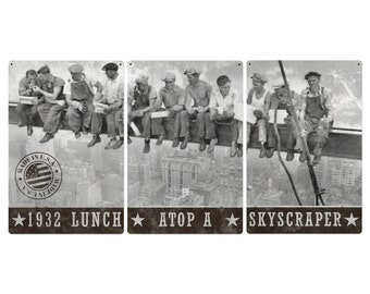 "Lunch Atop A Skyscraper Triptych Metal Sign, Americana, Wall Decor, Wall Art 72""x36"" and 36""x18"""
