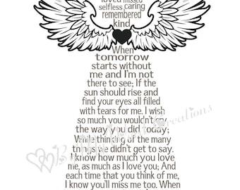 Memorial Poem Angel Art, Bereavement Poem Angel Word Art, Keepsake Art, Personalized Word Art Typography, PRINTABLE DIGITAL FILE
