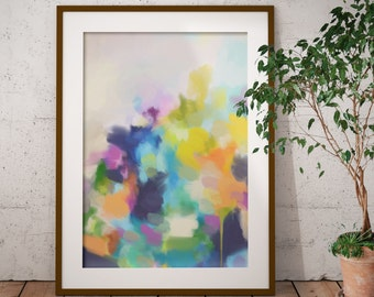 Framed Yellow and Blue Abstract Art Print - Framed Print - Fine Art Print from Abstract Painting