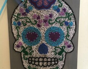 Sugar Skull String Art Sign