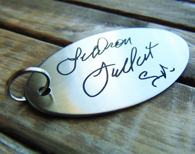 Signature Keychain - Actual Handwriting -  -Laser Engraved - Brushed Stainless Steel Christmas Gift- House warming gift.