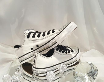 Bridal Converse White Converse Shoes Women's Bridal Sneakers Bling Converse Rhinestone Bridal Bling Shoes Wedfing Shoes