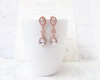 Rose Gold Earrings Rose Gold Wedding Jewelry Cubic Zirconia Post Teardrop Rose Gold Wedding Earrings Bridal Jewelry