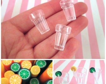 DIY Kit, 2 Clear Water Glass Cup Cabochons, Miniature Cups for dollhouses and crafts, #DH53
