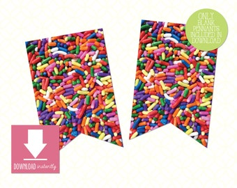 Printable Pennant Banner COLORFUL SPRINKLES: Instant Download