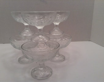 Italian Clear Glass Footed Bowls Set of Eight Dish or Compote Fruit Design Embossed on Outside