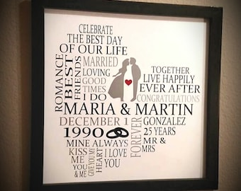 Customized Anniversary Sign with Custom Frame - 25 Years