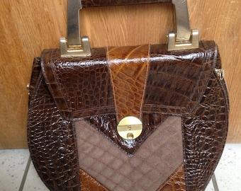 Handbag SUDHAUS leather Croco Italy Vintage Rare Tbe