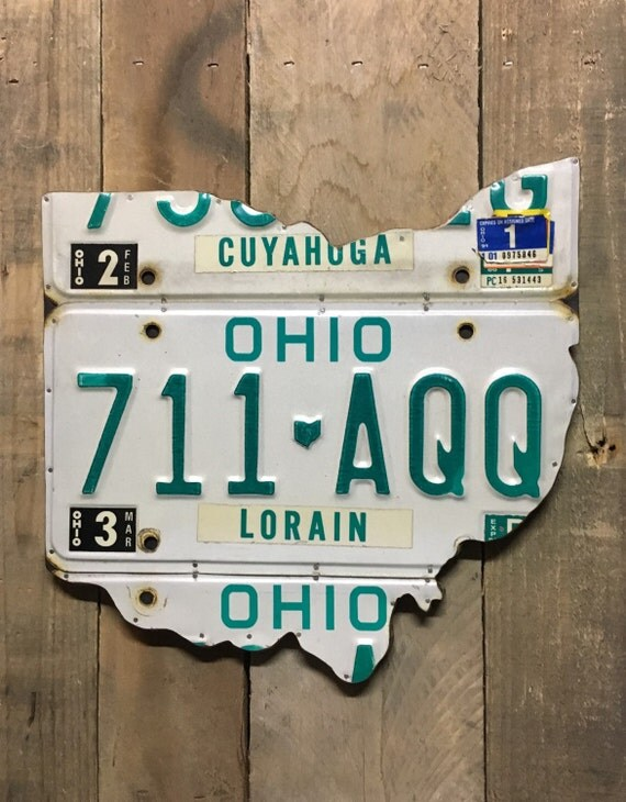 License Plate Wall Art - Ohio Wall Decor Unique Gift FREE Shipping in USA! (Rustic Apple Art as seen in Country Living Magazine)