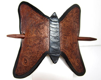 Leather Butterfly Barrette