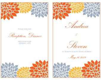 Printable Mums Foldover Wedding Program Template, Orange Chrysanths Reception Program Booklet, INSTANT DOWNLOAD, Editable Text &Colors