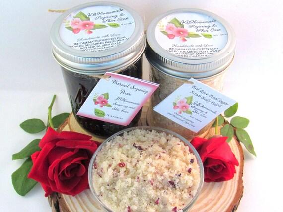 Sugaring Paste & Natural Red Rose Petal Sugar Scrub Bundle