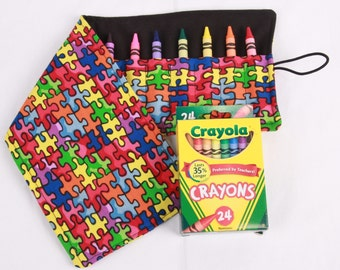 Crayon Roll, Autism Awareness, Crayon Holder, Puzzle Pieces, Birthday Party Favor, 24 Crayola Crayons Included, Crayon Keeper, Crayon Wallet
