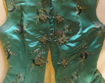 Traditional Chinese Silk Top with Mandarin Collar and Five-Frog Closures, Made by Klis Corporation, Hong Kong.