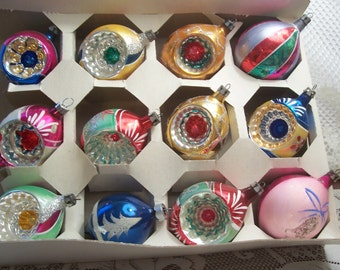 One Dozen Assorted Poland Indents Christmas Ornaments