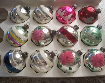 One Dozen Shiny Brite/USA Christmas Ornaments