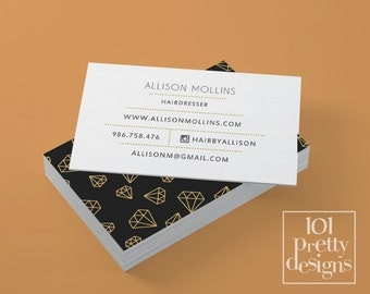 Watercolor Business Card Template Gold Printable Business Card - Jewelry business card templates