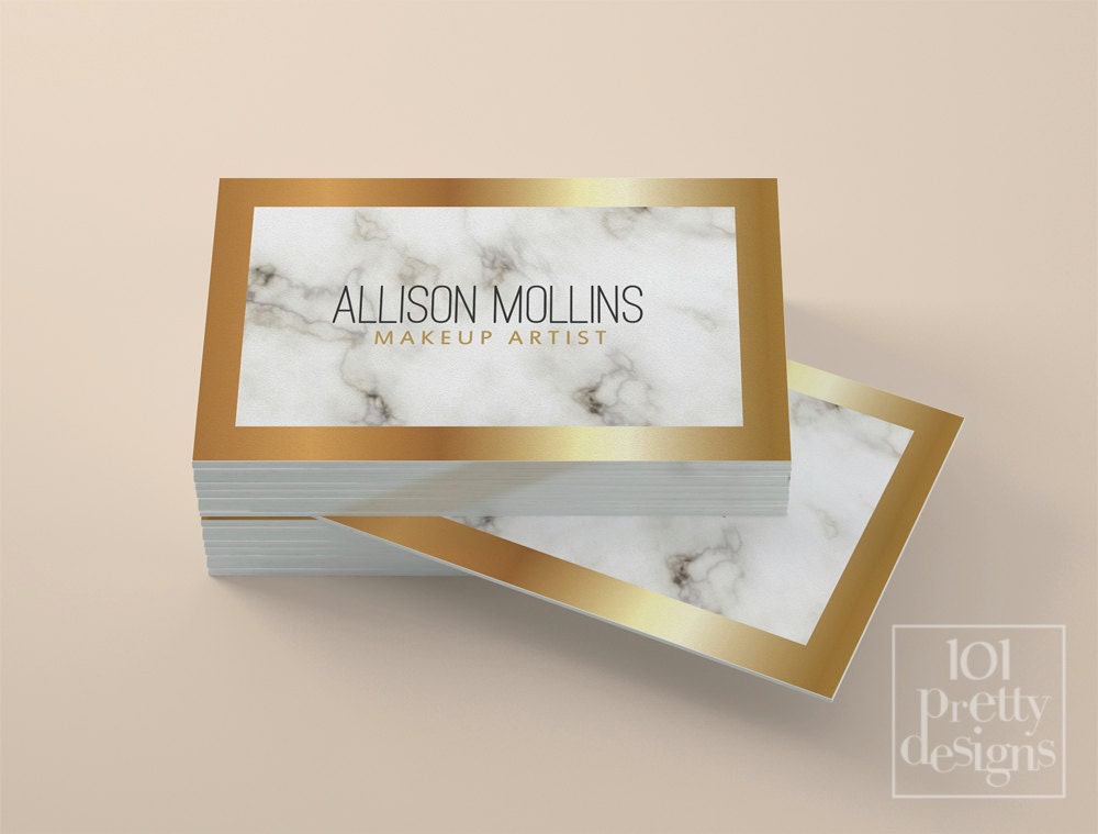 Marble business card white and gold business card custom