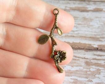 Flower Branch Bronze Charms Antique Bronze Tone 6pcs - BC143