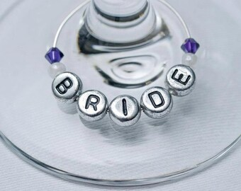 Bride & Groom Wedding Favour Gift Wine Glass Charms Personalised (2)