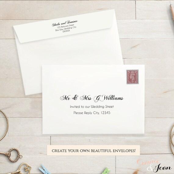 Printable Wedding 4x6 envelope template RSVP envelope Script – 4x6 Envelope Template