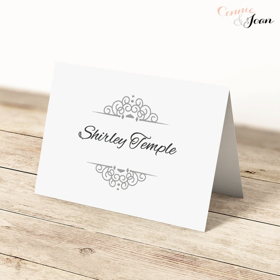 items similar to printable table place name cards silver flat and folded table place cards