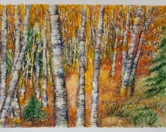 Watercolor landscape, autumn watercolor, landscape painting, Original Watercolor Painting, Wall Art, seasons painting, autumn tree, ART