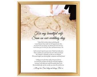 Unique wedding day poem gift for bride - From Groom to bride - Poem personalized for wife on wedding day - Printed or JPG - 8x10 inch