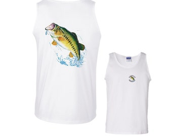 Largemouth Bass Jumping out of Water for Lure Fishing Tank Top mens