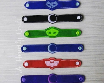 Ready To Ship - PJ Mask Set of 3 Superhero & 3 Villain Bracelets PJ Masks Fancy Dress Up Party Favor Celebration Halloween