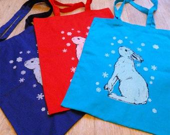 Re-usable mountain hare cotton shopping bag