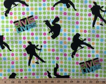 Elvis Presley Fabric ~ By The Fat Quarter ~ Elvis Lives Green Pink Blue Polka Dot Fabric Nursery Cotton Quilting FQ t/s/y2&26L