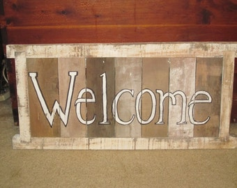 Large Rustic Welcome Sign, Made from Reclaimed Pallet Wood
