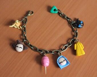Coraline inspired charm bracelet, adjustable.